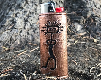 Petroglyph Copper Lighter Case - Gitchi Manitou ancient indigenous North America Indian rock carving replica on handcrafted copper case