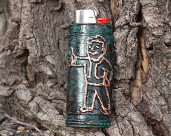 Fallout inspired Vault - Tec Vault Boy Green Patina Copper Bic Lighter Case