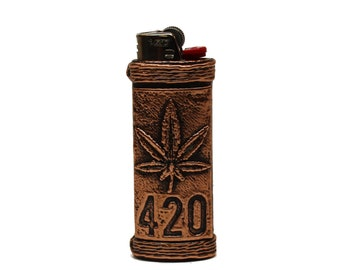 Marijuana Leaf 420 Copper Lighter Case for the Bic.