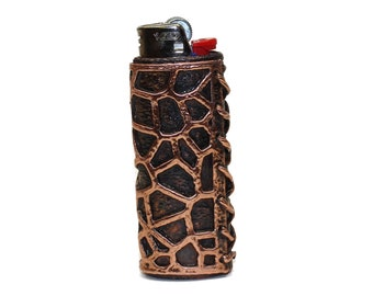 Voronoi pattern laced Copper Lighter Case for the Bic