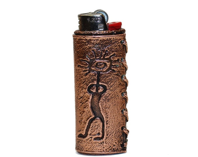 Featured listing image: Gitchi Manitou - Great Spirit - Ojibwe Copper Lighter Case for the Bic