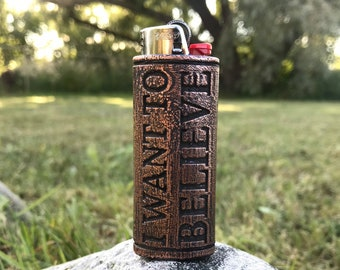 I Want To Believe - Copper Lighter Case 3D Printed and coated in High Purity Copper with patina finish