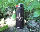 Fleur de Lis - Dark patina lighter case for Mardi Gras