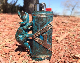 ARK: Survival Evolved inspired Blue Patina Copper Bic Lighter Case