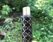 Blue Patina Pattern Lighter Sleeve - handcrafted cladded with copper and filled with patina and resin