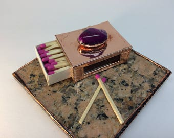 Polished Purple Stone Copper Match Box Holder - A decorative way of holding your safety matches