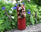 Copper Frog Lighter Case. Deep Red resin over Copper case featuring a copper frog.