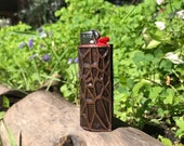 Voronoi pattern Copper Lighter Sleeve - Patina finish sealed in clear resin