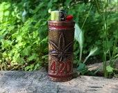 Marijuana Leaf 420 Copper Lighter Case sealed with Red Resin