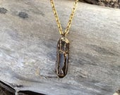 "Electroformed Hexagonal Quartz Pendant with Brass Trim Finish with matching 18"" Chain - Handcrafted"