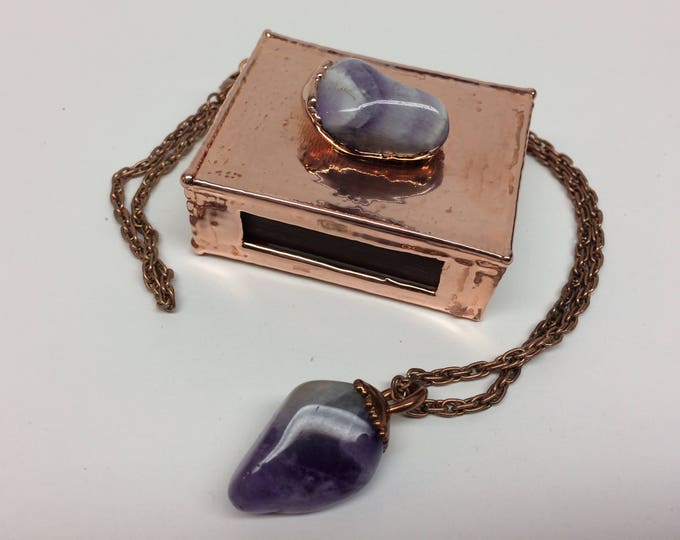 Featured listing image: Amethyst Pendant with matching Amethyst Match Box Gift Box