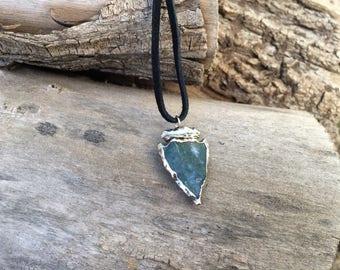 Green Blue (Ozhaawashkwaa) Cobalt Nickel Electroformed Arrowhead Pendant