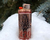 Marijuana Leaf 420 Copper Lighter Case sealed with Red Resin