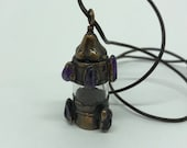 Amethyst Copper Bottle Pendant - 8 Amethyst stones on Copper over mini bottle