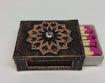 Faceted Crystal Mandala Match Box Holder - A decorative way to hold your matches for Tea Lights and Candles