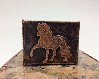 Peruvian Paso Horse Copper  Match Box Holder - A decorative way to cover your safety matches and a great gift