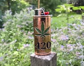 Marijuana Leaf 420 Copper Lighter Case 3D Printed and Coated in High Purity Copper Colored and sealed in Resin