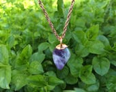 "Amethyst Stone Copper Pendant Charm - Polished Canadian amethyst hand-crafted with 18"" Chain"