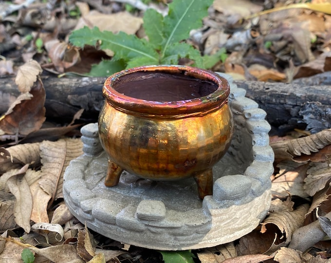 Featured listing image: Cast Miniature Copper Witch Cauldron Hand-Made for Decor Halloween Spells Potions Alchemist