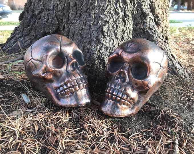 Featured listing image: Pair of Copper Skulls for Alters Props Decorum and Practices