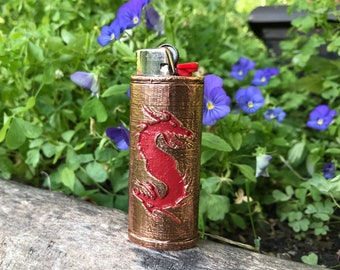 Twin Dragons Copper Lighter Case 3D Printed coated in High Purity Copper Red Resin Relief sealed in Resin