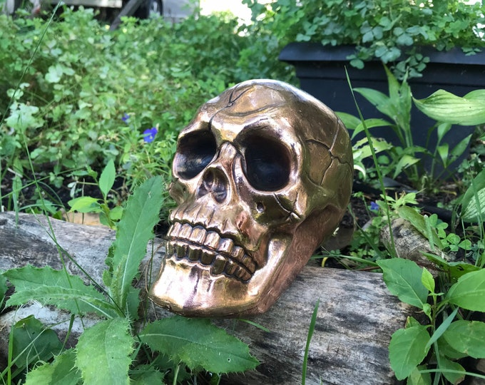 Featured listing image: Copper Skull formed using Alchemy Electroforming for Decor Props Alters Cosplay Crafts Spiritual Practices
