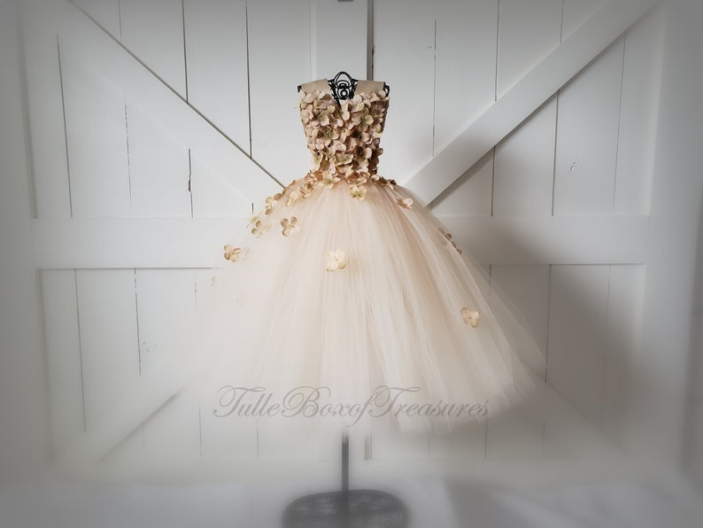 03f952dff12 Champagne Flower Petal Dress with Ribbon Straps  Flower Girl