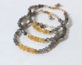 Gold Citrine Bracelet, Semi Precious Stone Bracelet, November Birthstone Jewelry, Labradorite Bracelet Women, Organic Jewelry