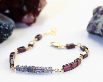 Iolite Bracelet, Rhodolite Garnet, Small Bead Garnet Bracelet, Semi Precious Stone Jewelry, Multi Gemstone Bracelet, Artisan Christmas Gifts