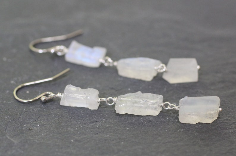 Sister Gift Raw Gemstone Earrings Raw Birthstone Jewelry Moonstone Earrings Drop Moonstone Earrings Sterling Silver