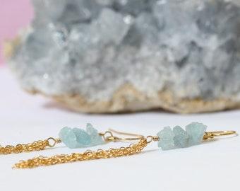 Raw Crystal Earrings, Long Blue Aquamarine Earrings, Raw Gemstone Jewelry, March Birthstone, 30th Birthday Gift Friend, Silver or Gold
