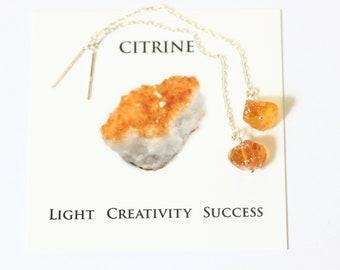 Raw Citrine Earrings, Threader Earrings Sterling Silver, Gemstone Threader Earrings, Ear Threads with Citrine Stones, November Birthstone