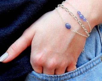 Tanzanite Bracelet, Semi Precious Stone Bracelet Set, December Birthstone Jewelry, Dainty Gemstone Bracelet, Handcrafted Blue Stone Jewelry