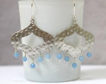 Hammered Silver Statement Earrings, Moroccan Jewelry, Turkish Marrakesh Earrings, Hippie Jewelry, Light Blue, Semi Precious Stone Jewelry