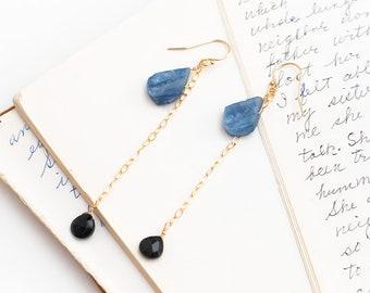 Blue Kyanite Earrings, Raw Gemstone Earrings, Crystal Healing Jewelry, Black Spinel Teardrops, Long Teardrop Earrings, Contemporary Jewelry