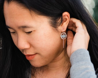 Aquamarine Earrings Sterling Silver, Hammered Circle Silver Earrings, March Birthstone Jewelry, Blue Aquamarine, Raw Gemstone Earrings