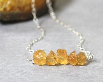 Raw Citrine Necklace, Raw Gemstone Necklace, November Birthstone Pendant, Healing Crystals, Gemstone Choker, Rough Stone Jewelry