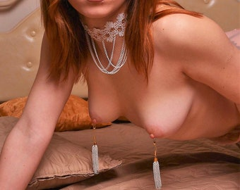 White lace collar Submissive necklace with non piercing nipples jewelry - Mature Adult toys