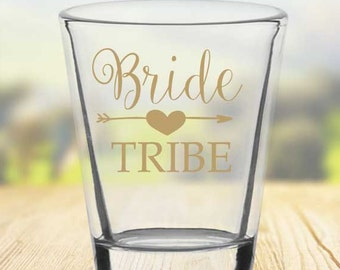 Bride Tribe Shot Glass - Custom Wedding Shot GlasPersonalizeds - Bridesmaids favor- Wedding Glasses - Customized 1.75oz Shot Glasses 1006