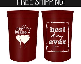 Wedding Cups Party Cups Custom Plastic Cups 1104 Destiniation Wedding Favor Cups Personalized Plastic Cups State to State Cups Cups
