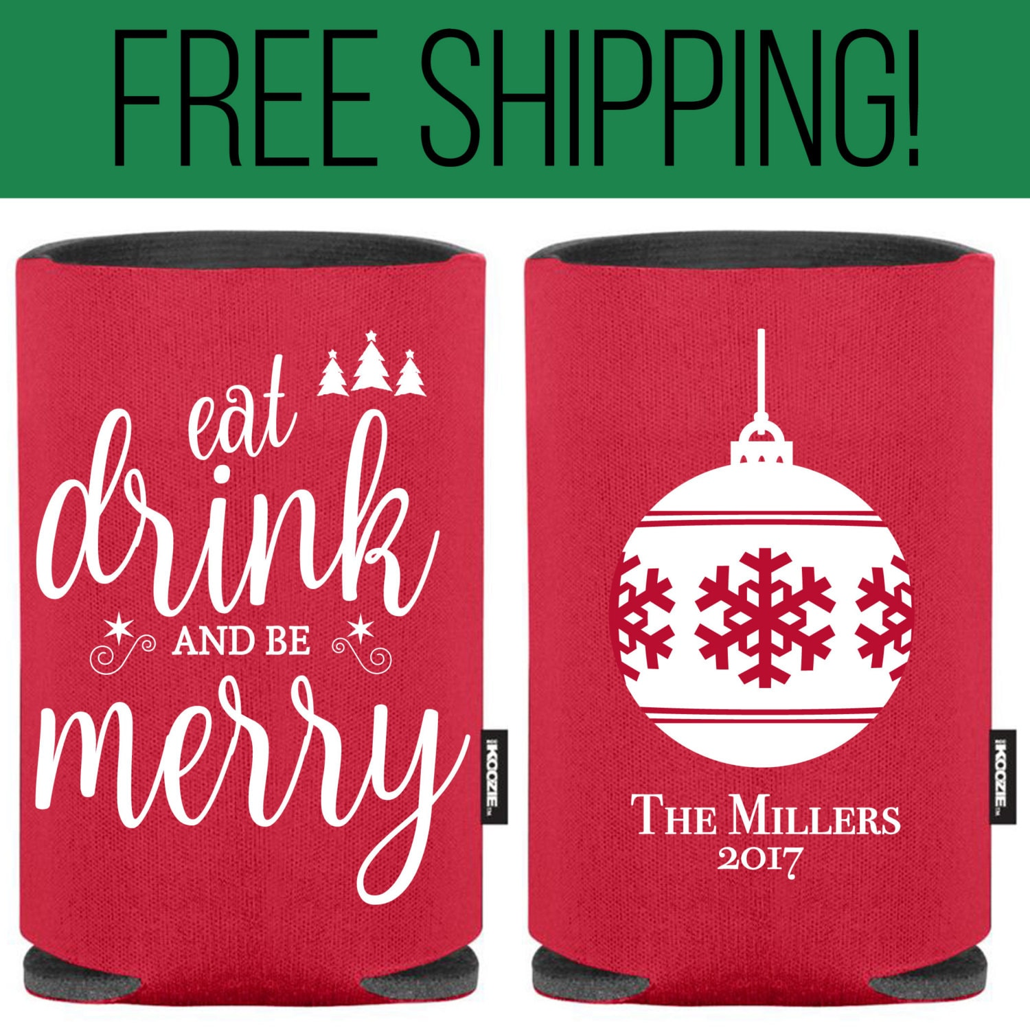 Eat Drink and be Merry KOOZIE ® Funny Christmas Koozie ® | Etsy