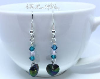 Crystal Drop Earrings made with Swarovski Xilion Hearts and Blue Zircon Crystals for maximum BLING effect. Medium Vitrail Crystal Heart