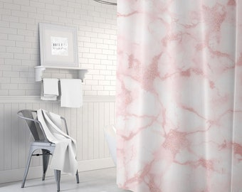 Pink Marble Shower Curtain Girls Bathroom Decor Bath Teen Room Gift For Her