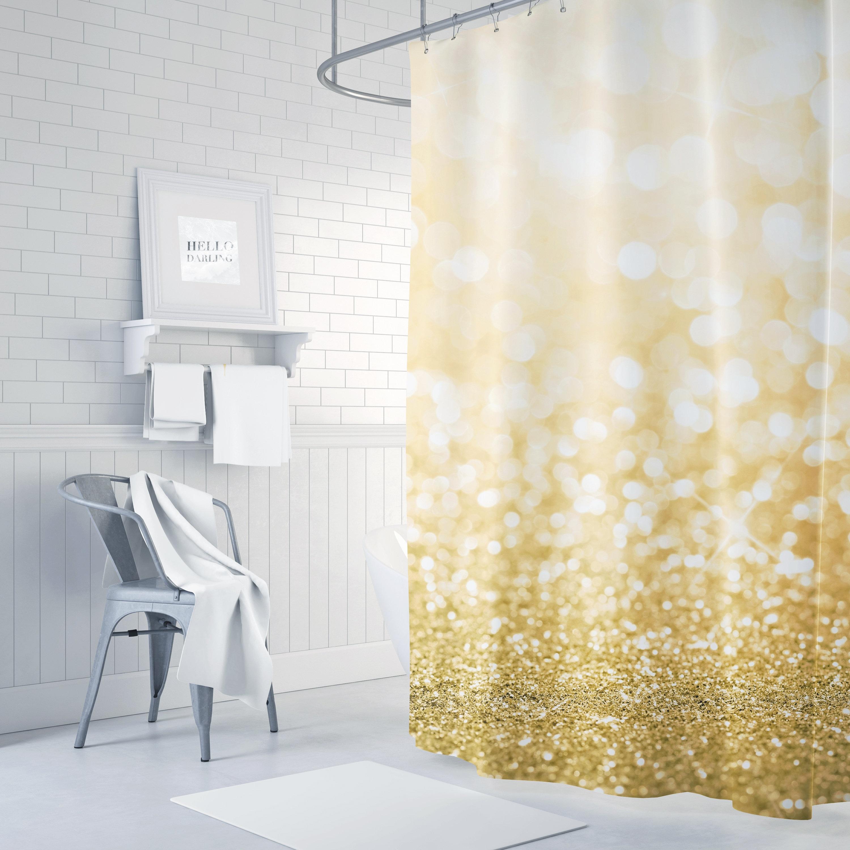 Gold Glitter Shower Curtain Girls Bathroom Decor Boho
