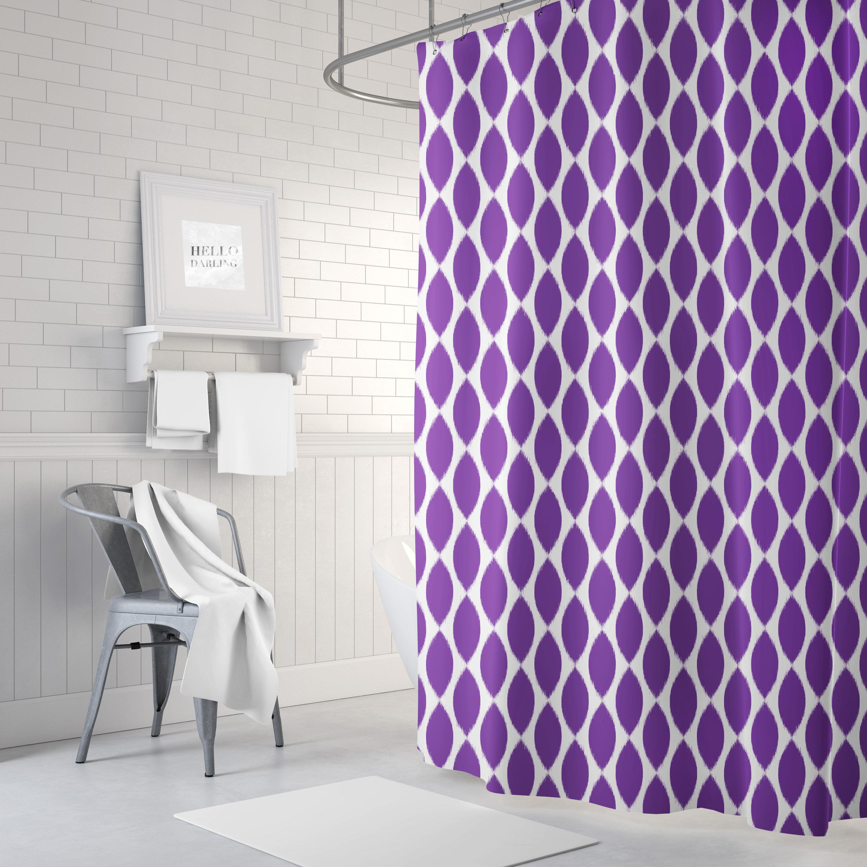 Purple Shower Curtain Girls Bathroom Decor Ikat Bath