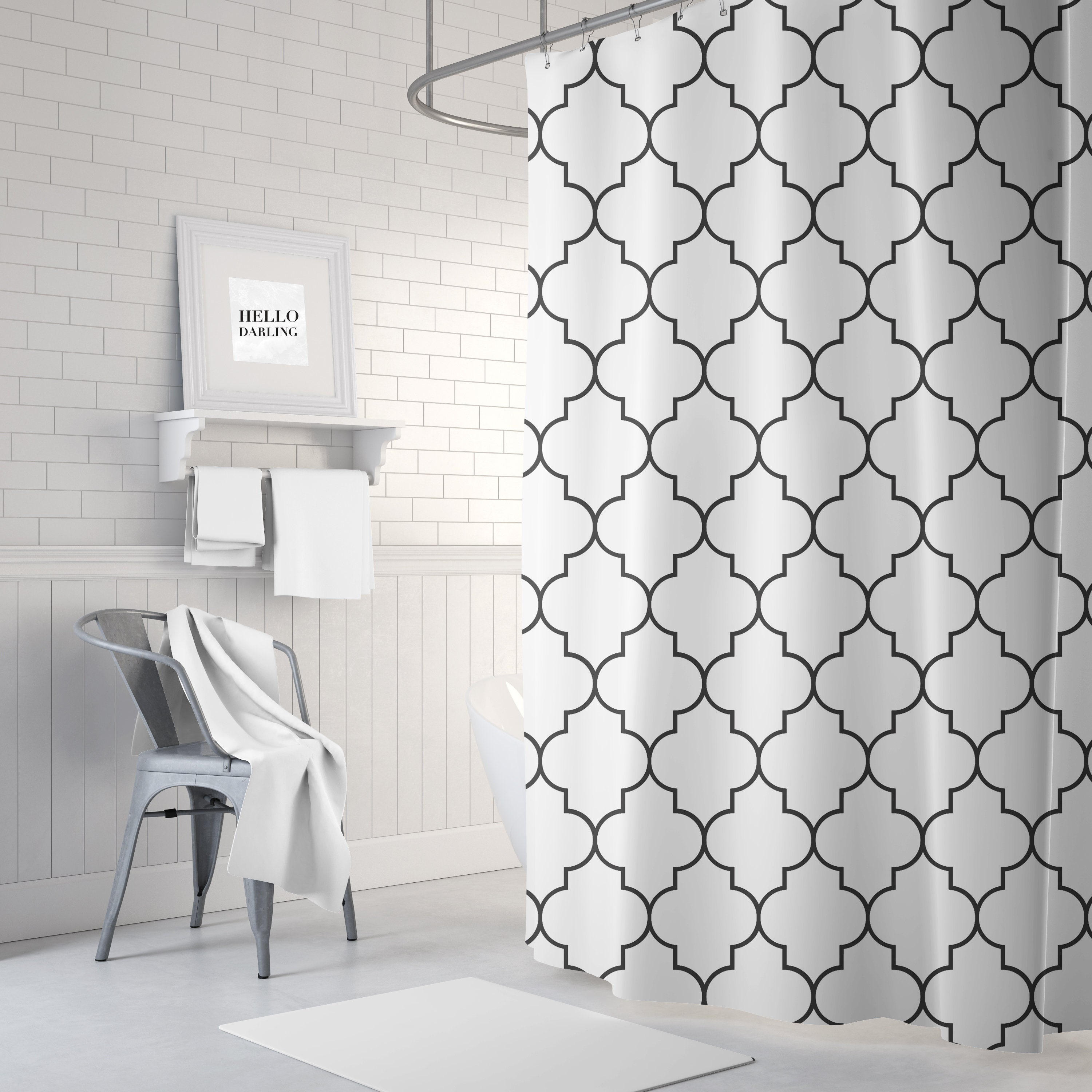 quatrefoil shower curtain black and white fabric shower etsy. Black Bedroom Furniture Sets. Home Design Ideas