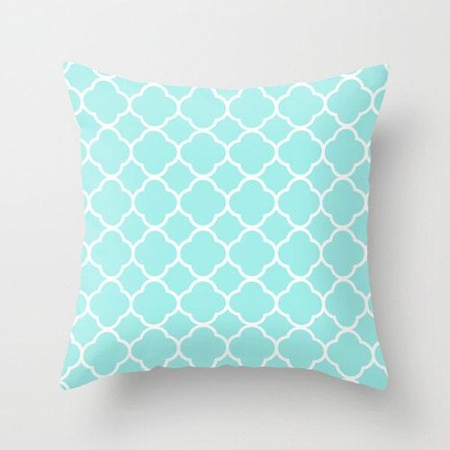 Aqua Pillow Quatrefoil Velvet Aqua Throw Pillow Teen Girl