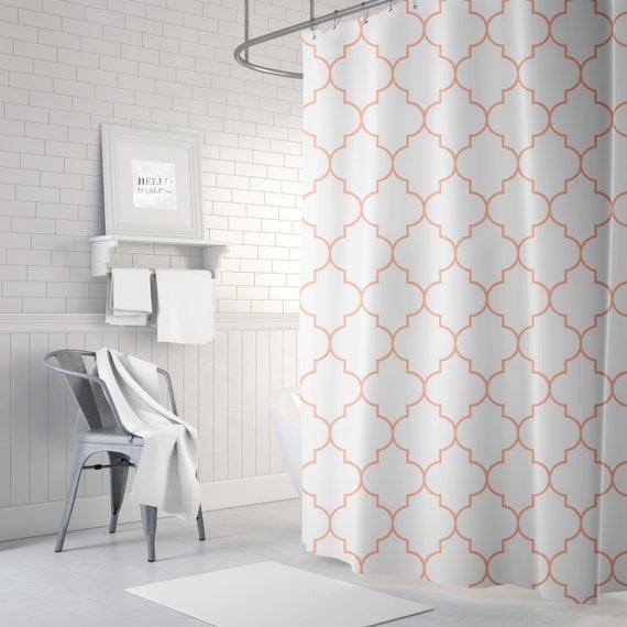 Peach Quatrefoil Shower Curtain Girls Bathroom Decor