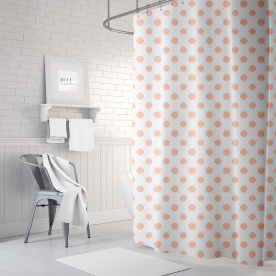 Peach Shower Curtain Ikat Polka Dot Bath Girls