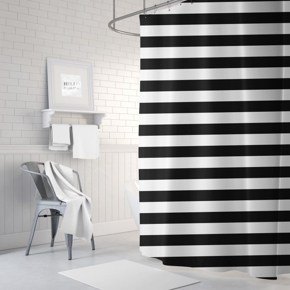 Black And White Striped Shower Curtain Bathroom Decor Bath